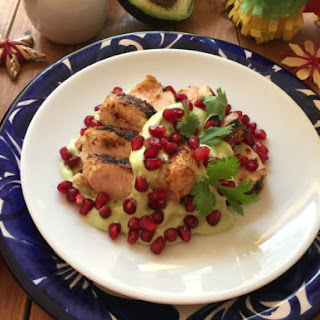 Avocado Crema Chicken with Pomegranate.