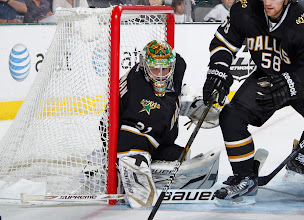 Photo: DALLAS, TX- APRIL 7: Richard Bachman #31 of the Dallas Stars guards his net against the St. Louis Blues at the American Airlines Center on April 7, 2012 in Dallas, Texas. (Photo by Glenn James/NHLI via Getty Images)