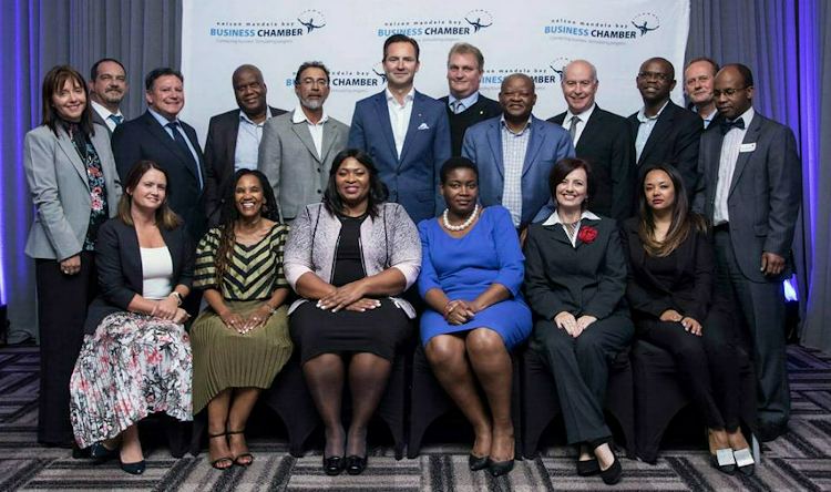 Board members of the business chamber are front, from left, Simone Mao-Cheia, Bongi Siwisa, chief executive Nomkhita Mona, Tshiwela Mhlantla, Jane Stevenson, Sonja Tifloen, and, back, Denise van Huyssteen, Robert Niemand, Rocco Joubert, Loyiso Dotwana, Hoosain Mohamed, president Thomas Schaefer, Andrew Muir, Saki Macozoma, MC Botha, Siyabulela Mhlaluka, Dave Coffey and Christopher Mashigo