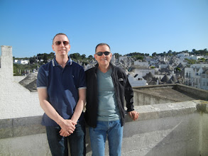 Photo: Chris and I at a spot overlooking the districts of Alberobello where the trulli are.