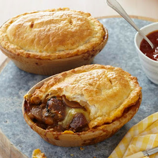Steak, Cheese And Mushroom Pies.