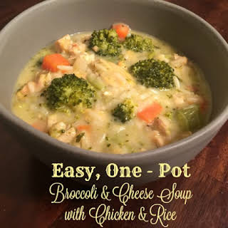 Easy One Pot Broccoli & Cheese Soup with Chicken & Rice.