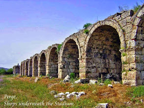 Photo: Perge - Stadium with vaulted shops underneath the seating area