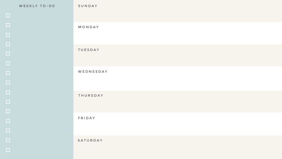 Blue Weekly Planner - Calendar Template