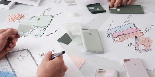 Google designers reviewing sustainable materials to use in designing the Pixel 5a (5G) Case.