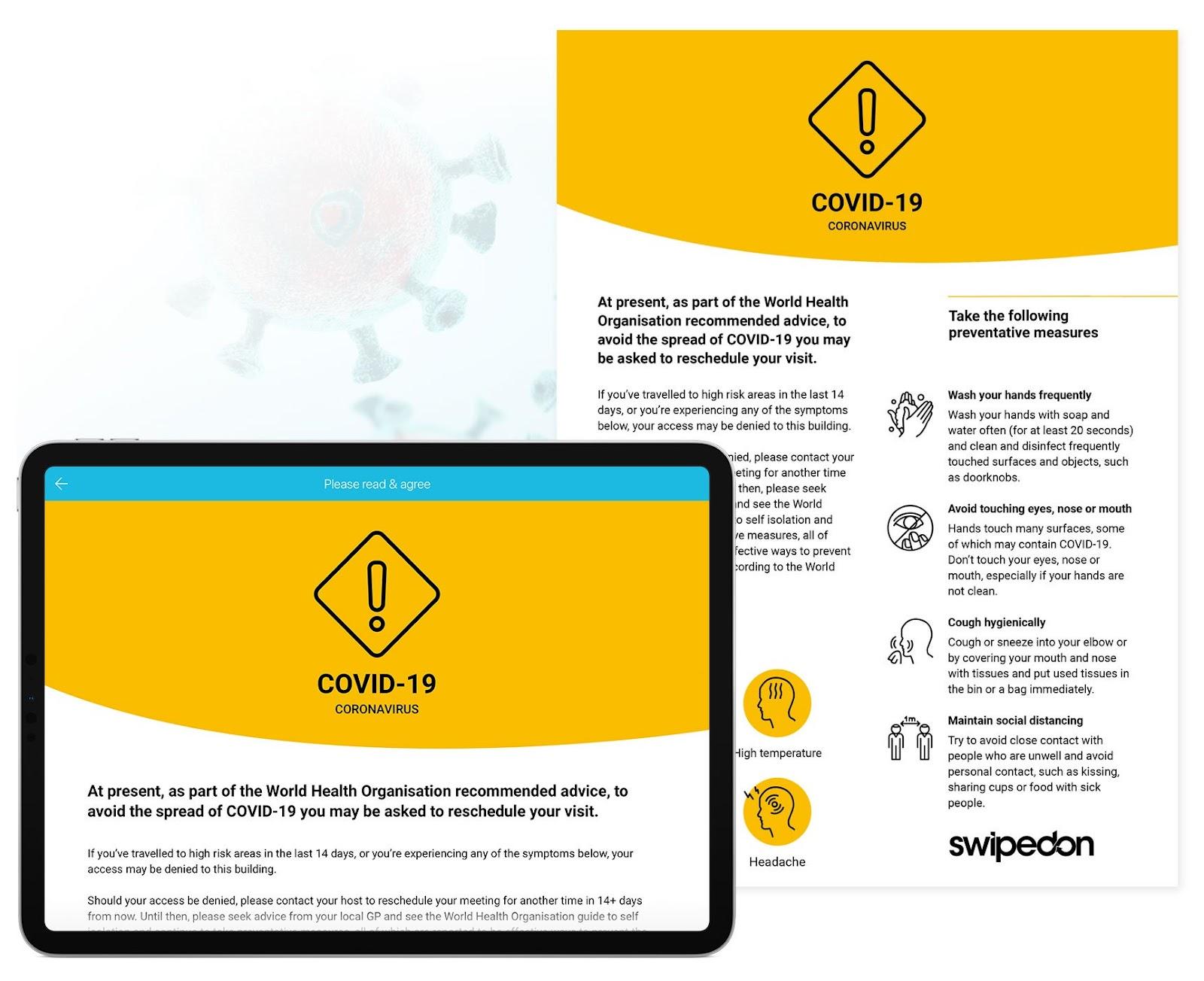 SwipedOn: Non-disclosure visitor agreement COVID-19