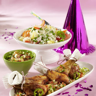 Honey-Glazed Chicken Drumsticks with Rice Salad and Salsa
