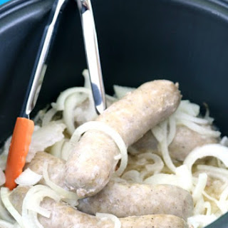 Crock Pot Beer Brats for a Crowd with (or without) Sauerkraut