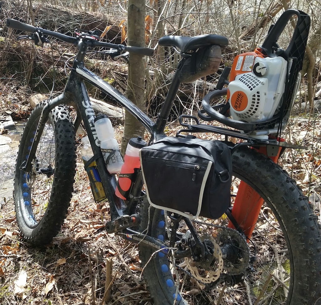 Carry chainsaw on fat bike singletracks mountain bike news this makes trail maintenance go much fastercaption greentooth Images