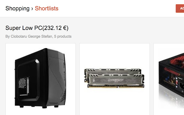 Total Price for Google Shopping Shortlists