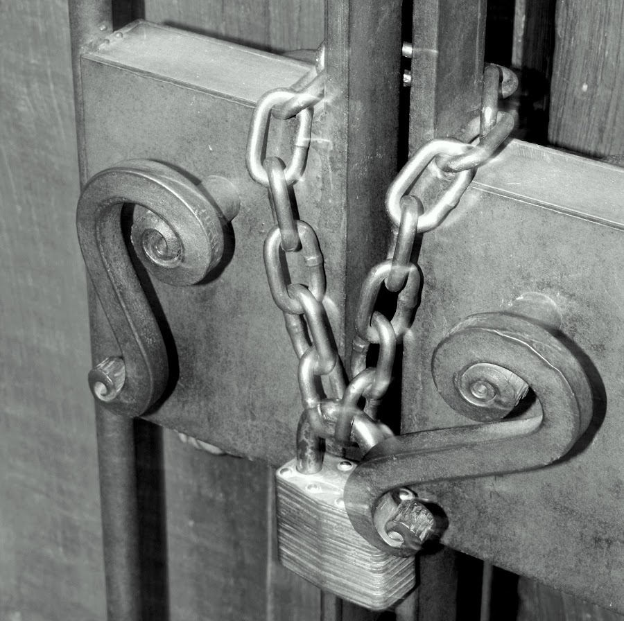 Padlock by Anthony Sapone - Black & White Objects & Still Life ( chain, metal, lock, padlock, gate,  )