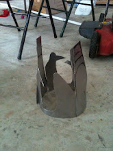 Photo: Snout almost complrtely cut out. Bending pieces now. Need... more... tools... Like an anvil, for example.