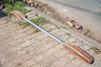 Photo: a short PVC tube is used as paddle's shaft