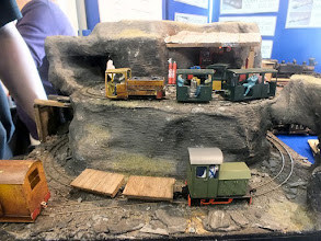 Photo: 022 Allen Law showed his micro 09 layout Cwm Valley on his MGM models stand .