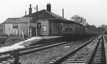 Photo: A down train arrives soon after singling (winter 1972)