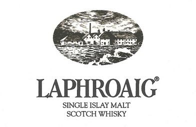 "Logo for Laphroaig ""Deep, Dark, And Hugely Entertaining"" 