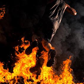 Fire Jump by Shane McKenzie - Sports & Fitness Running ( endurance, flames, fitness, race, running, smoke, fire, jump )