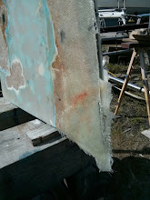 Photo: Filler then five layers of 1708 cloth applied to repair the damage to the aft, lower port of the rudder.