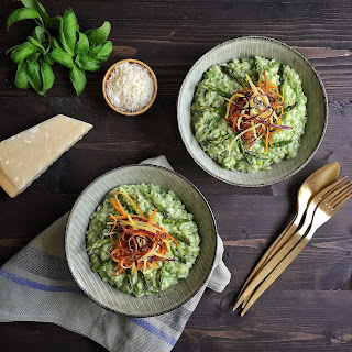 Asparagus & Basil Risotto with Rainbow Carrots
