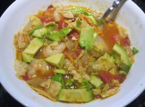 "Spicy Shrimp Tortilla Soup with Avocado ""I made this last night and..."