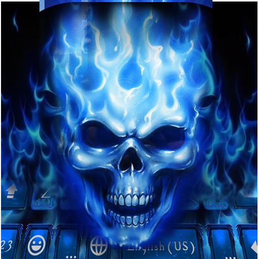 Flaming Skull Kika Keyboard Theme-blue phone theme