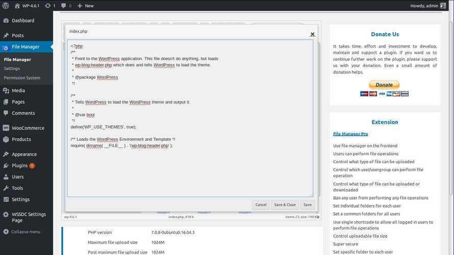 Gambaran dari Plugin File Manager di WordPress