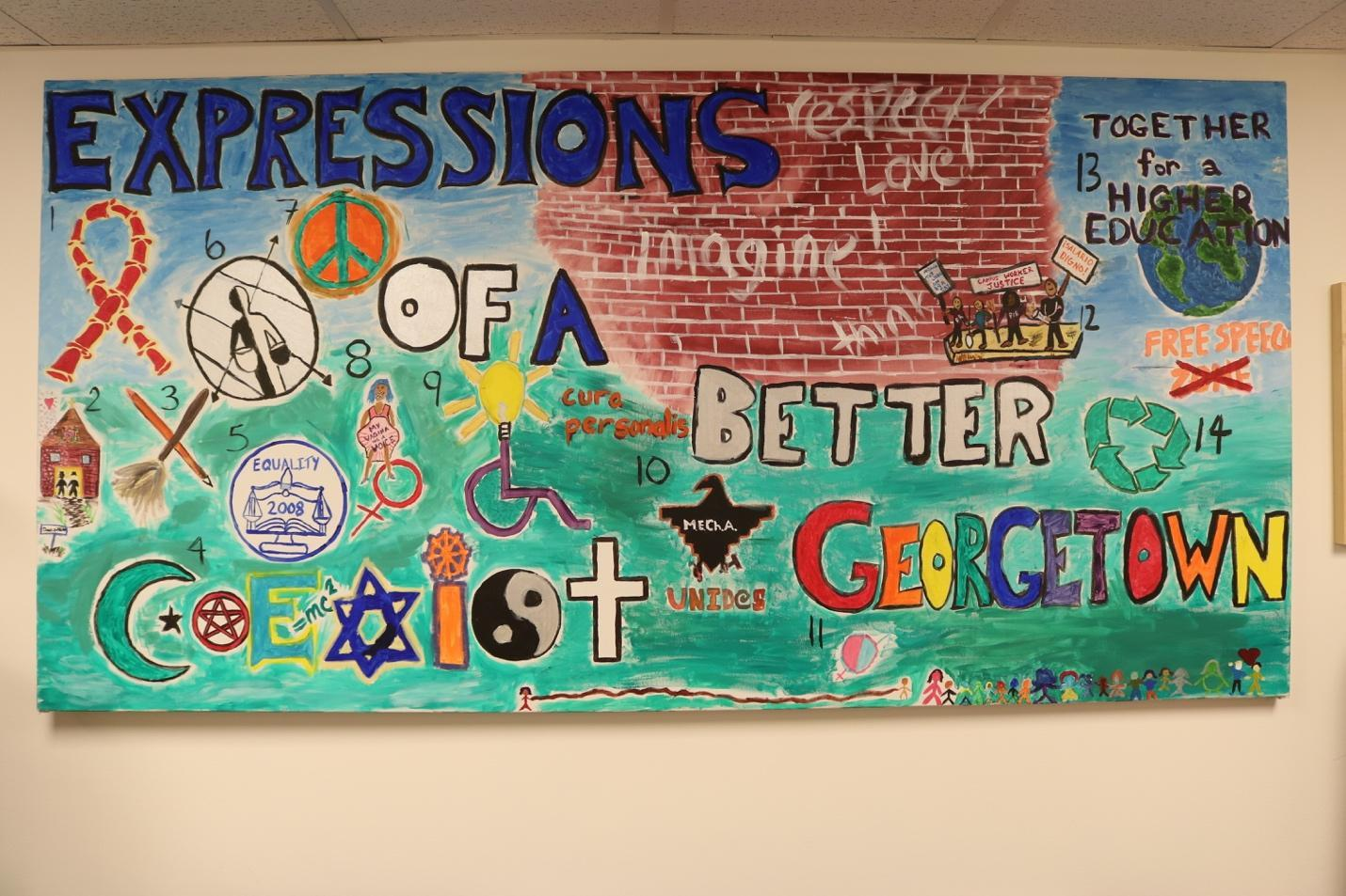 Mural painted by students organizing for Out for Change campaign at Georgetown University