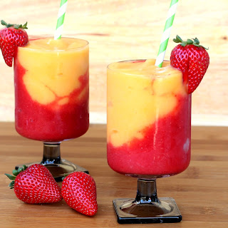 Strawberry and Peach Wine Slushies