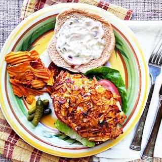 Sweet Potato Crusted Tilapia Sandwich.