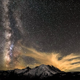 Night lights by Dale Slater - Landscapes Starscapes ( mountains, milky way, nightscape, hiking, stars )