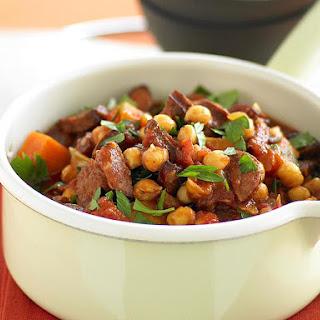 Chorizo,  Sweet Potato and Brown Rice Stew.