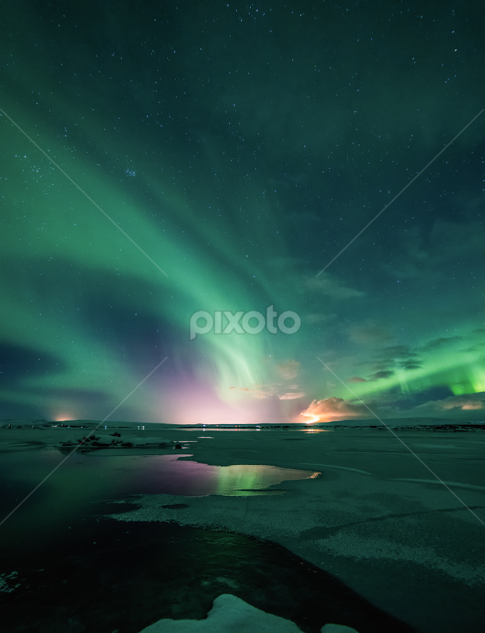 Frozen Aurora  by Kristvin Guðmundsson - Landscapes Starscapes ( aurora borealis, green, blue, iceland, aurora, scenery, lake, landscape, scene,  )