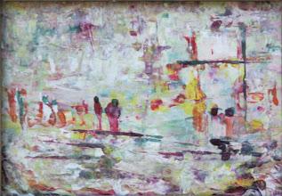 """Photo: """"Ballade printanière"""". Peinture huile et émail sur carton épais. 15x11cm, format horizontal."""