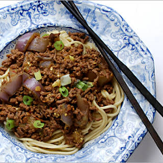Chinese Egg Noodles with Beef and Hot Bean Sauce.