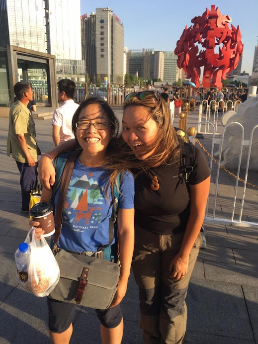 Nellie and I outside Beijing West Station
