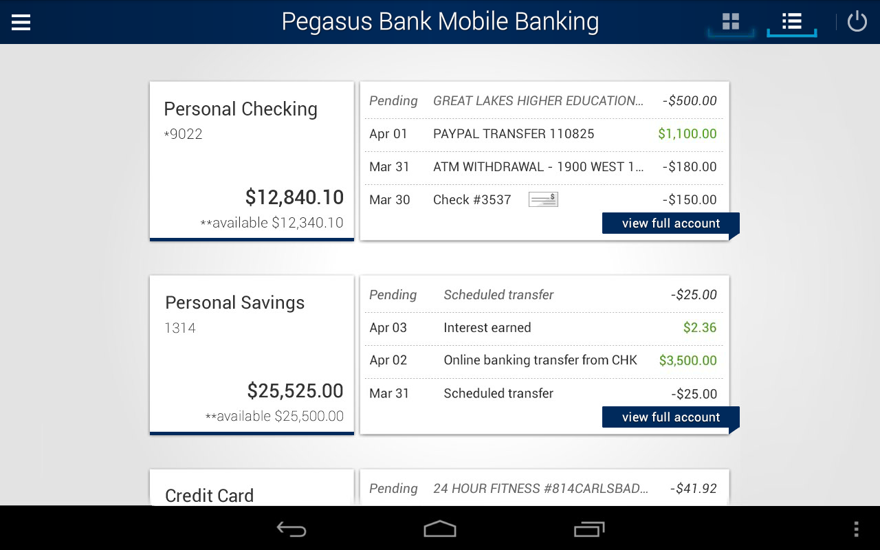 Pegasus Bank Mobile Banking- screenshot