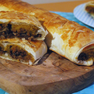 "Virtual Vegan Potluck – Braised Red Wine and Thyme Puy Lentil and Spiced Pumpkin Puree ""Sausage Rolls"""