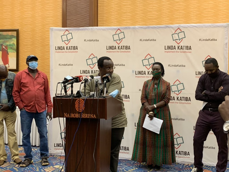 Members of the Katiba Forum group during a press conference in Nairobi on November 30, 2020.