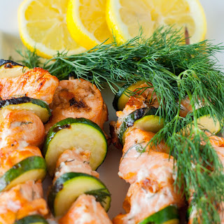 Lemon and Dill Barbecue Salmon Kabobs.