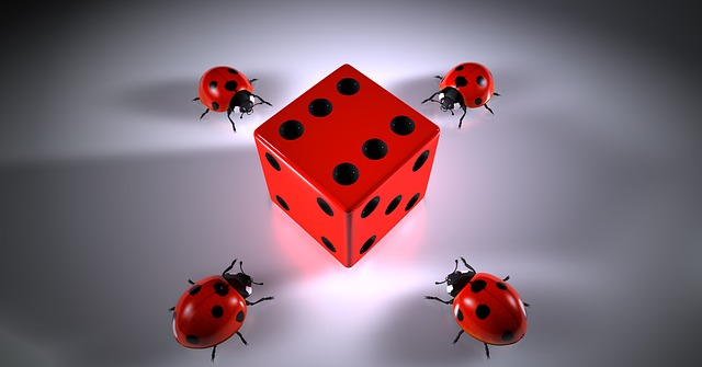 6 sided red cube, with 4 ladybugs