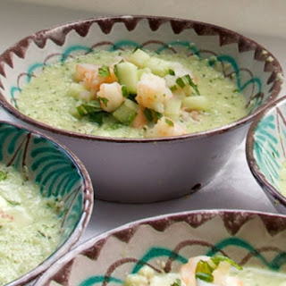 Cucumber Gazpacho with Shrimp and Melon