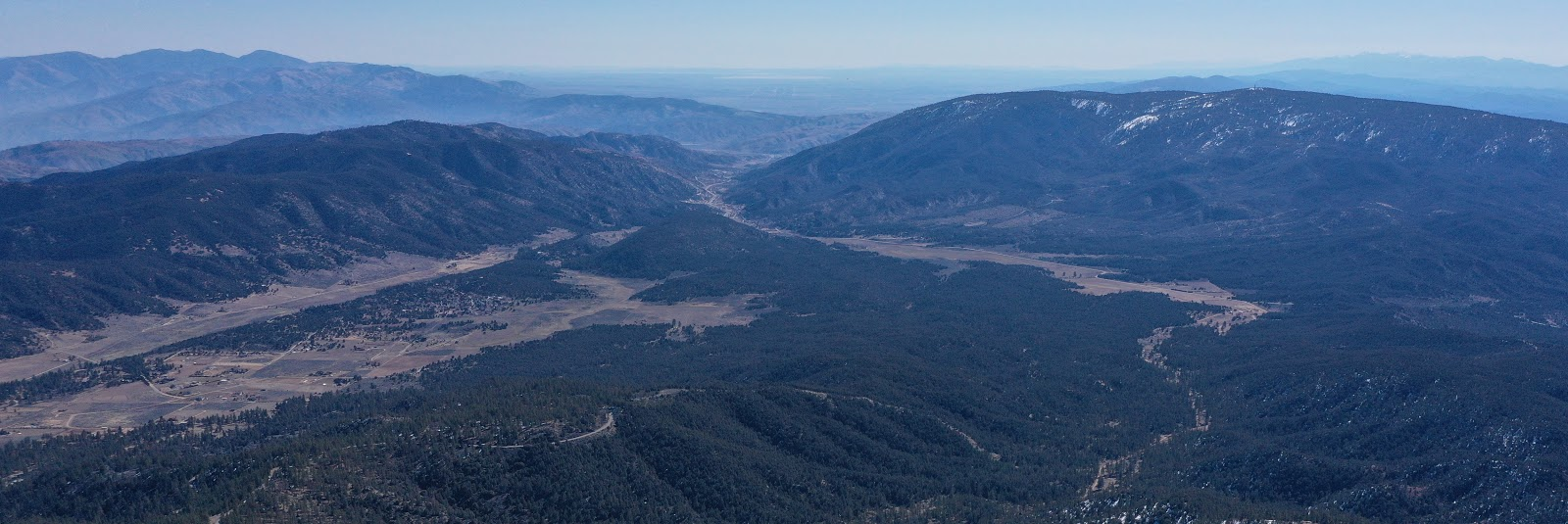 Cycling Mt. Pinos - aerial drone photo of  Mountains, Frazier Mountain Park Road, valley