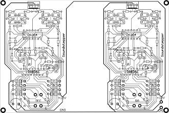 Photo: Layout do circuito que montei usando como guia o esquema criado pelo Maciel no site do Soundstepper. Os layouts foram criados no software gratuito ExpressPCB.