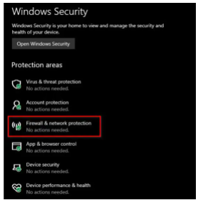 Enable Windows Security : Firewall & Network Protection