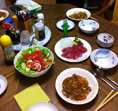 Photo: Dinner at the Kubo Residence. Tonight we made Japanese curry with rice, salad, and fresh maguro (tuna) sashimi from the fish market.  Yum.