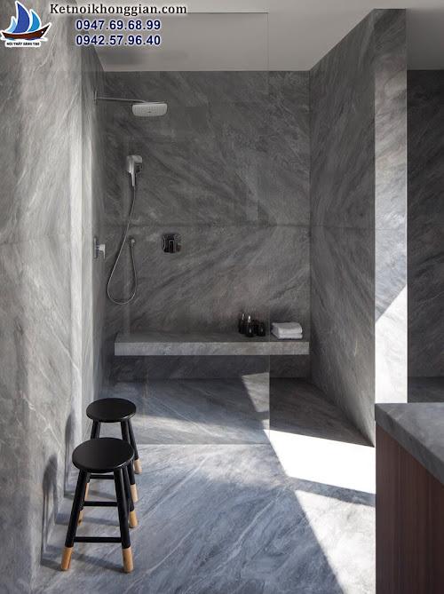 thiết kế căn hộ có phòng tắm ốp đá khắp nơi