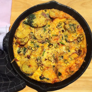 Frittata with Potatoes, Spinach, and Red Onion.
