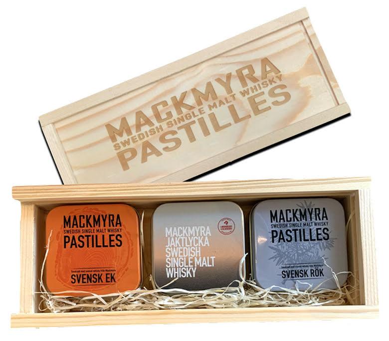 Presentlåda trä – Svensk Rök, Ek och Jaktlycka - Mackmyra pastilles