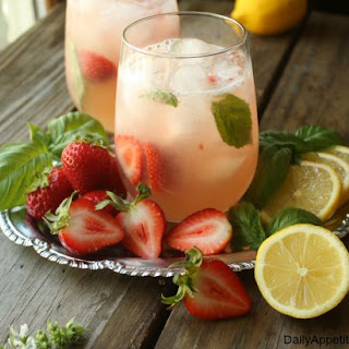 Strawberry Basil Lemonade Cocktail.