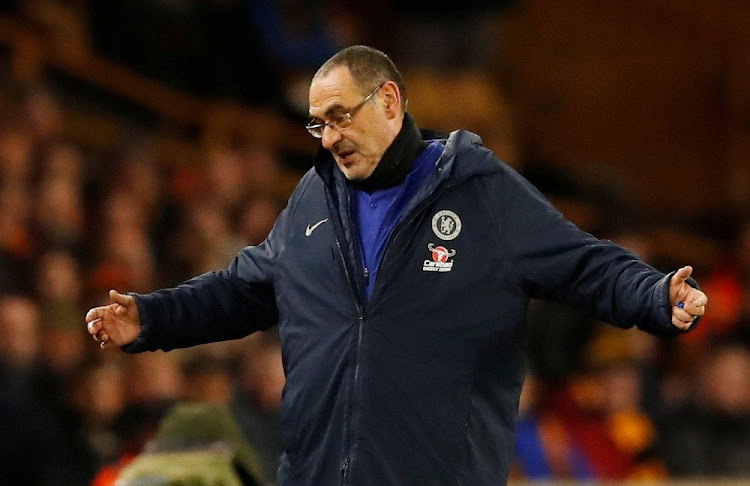 Chelsea manager Maurizio Sarri reacts at Molineux Stadium in Wolverhampton, Britain, December 5 2018. Picture: REUTERS/ANDREW BOYERS
